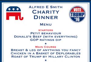 Trump Clinton spoof dinner menu